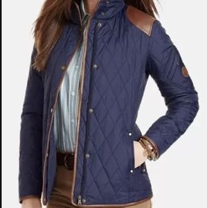 Ralph Lauren Quilted Jacked with Leather Trim